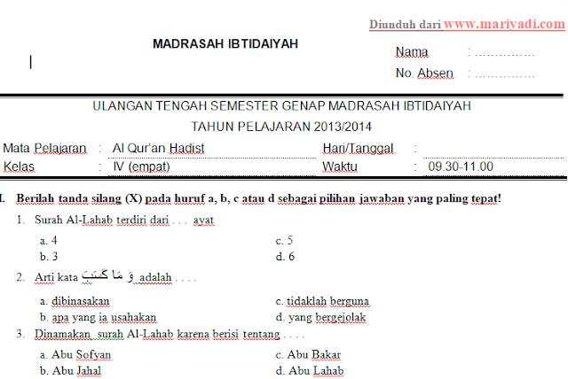 Soal UTS Al Qur'an Hadist Kelas 6 MI Semester 2 Kurikulum 2013