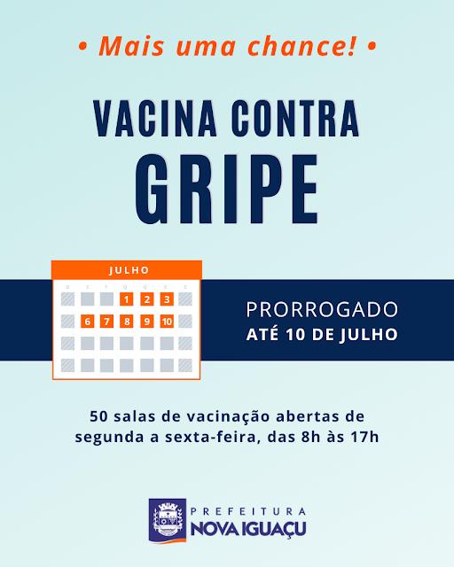 É prorrogada campanha contra a gripe em Nova Iguaçu