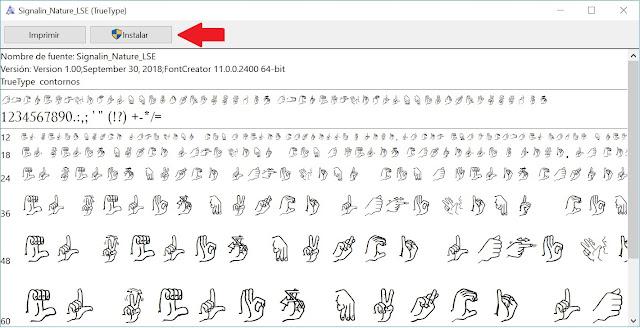 Botón instalar para la tipografía gratuita del alfabeto dactilológico español de la lengua de signos española
