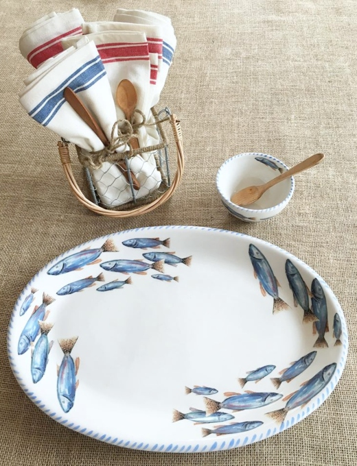 Fish Dinnerware Coastal Nautical Blue