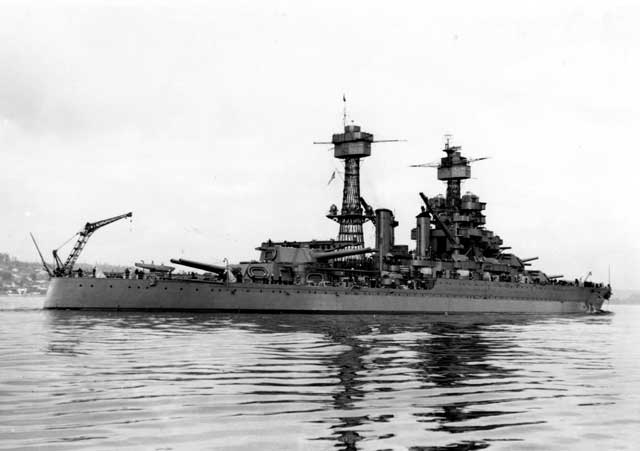 USS Maryland in Puget Sound on 9 February 1942, worldwartwo.filminspector.com