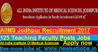 AIIMS-Jodhpur-125-Teaching-Faculty-Posts-Recruitment-2017