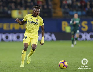 Super Eagles winger Chukwueze reacts after returning back to training with Villarreal