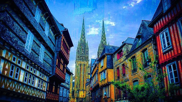 Colorful wooden houses in City Center of Quimper