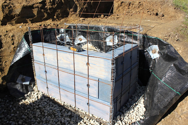 Gabion basket partially constructed
