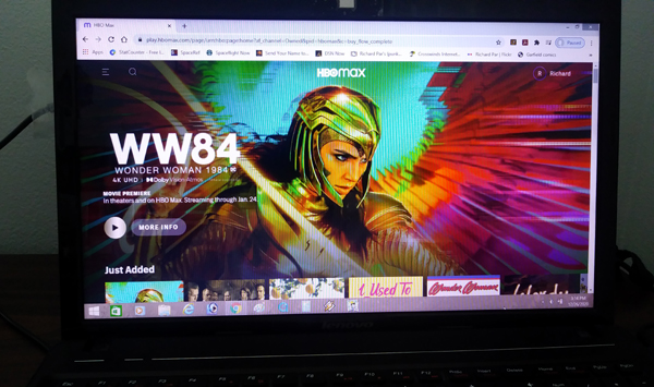 About to watch WONDER WOMAN 1984 via HBO Max on my laptop computer.