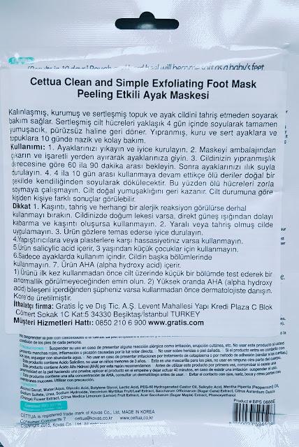Cettua Clean&Simple Exfoliating Foot Mask