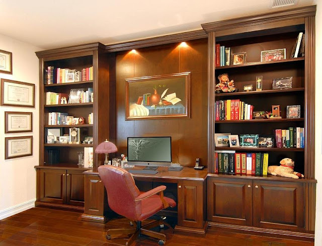best custom wooden home office desk and wall unit design ideas