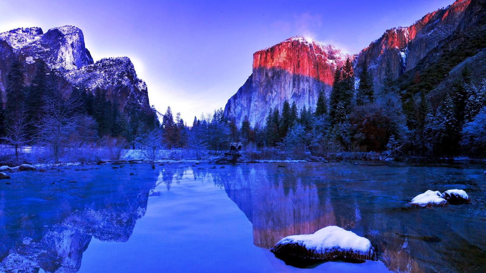 Yosemite lake in winter