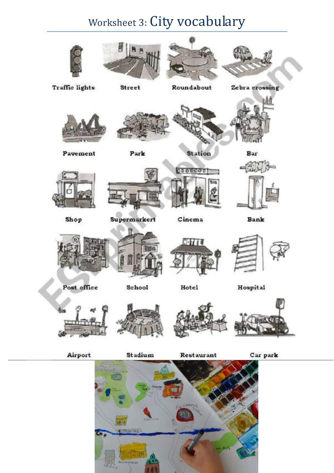 English At Ceip Portmany 6th My City Map Worksheet 3