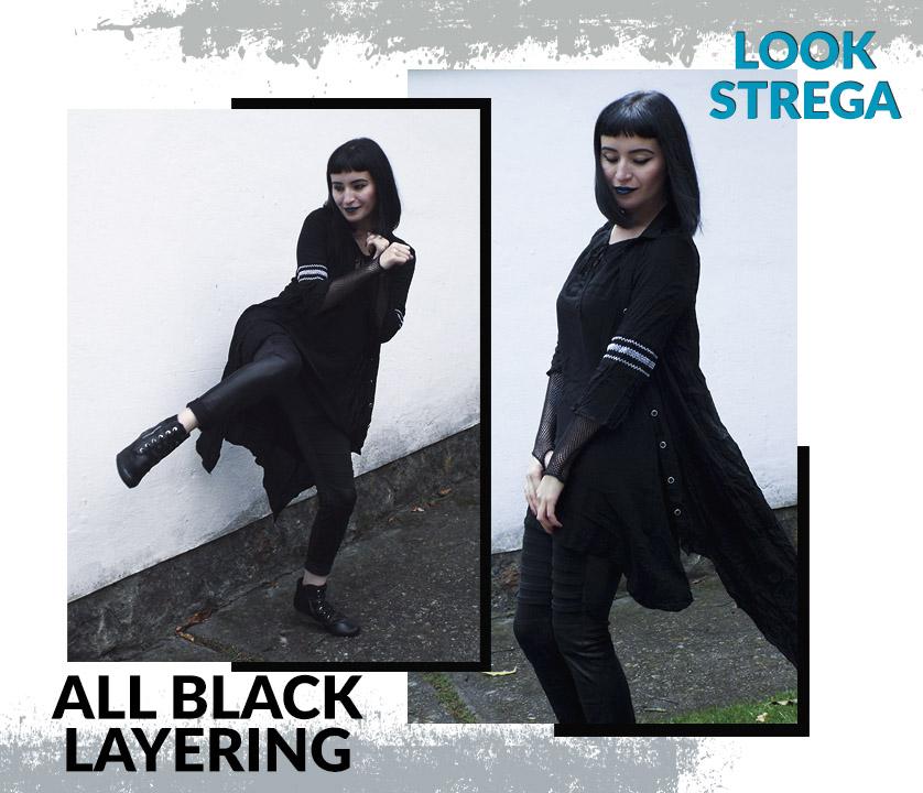 Look Strega: Todo de negro con prendas largas formando capas