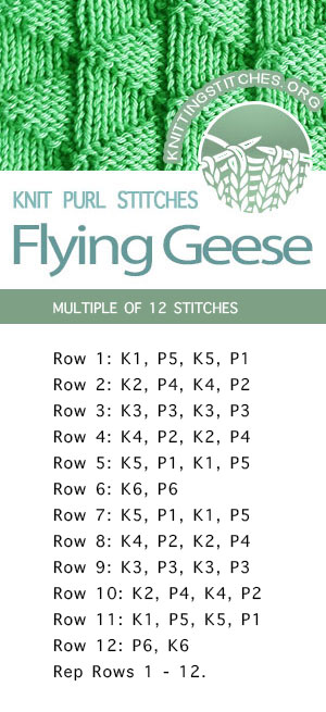 #KnittingStitches --  Flying Geese Stitch Pattern. Free Knitting Stitches - FREE written instructions.