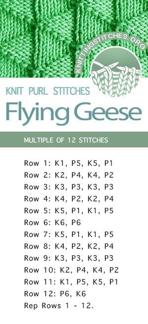 #KnittingStitches --  Flying Geese Stitch Pattern. Free Knitting Stitches - FREE written instructions.