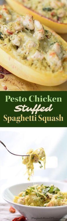 Easy Pesto Chicken Stuffed Spaghetti Squash