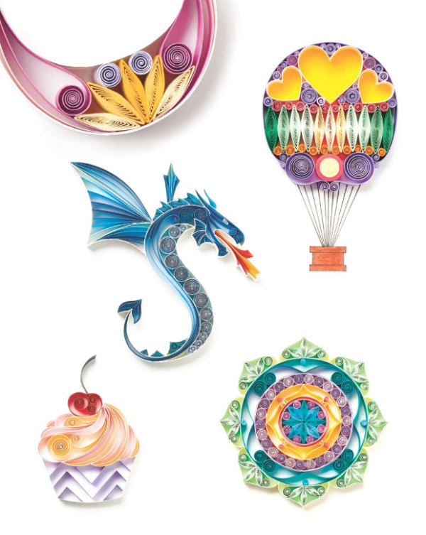 colorful design examples in Quilling 20 Beautiful Designs quilling book