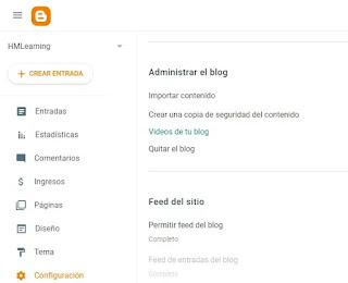 Configuración un blog de Blogger