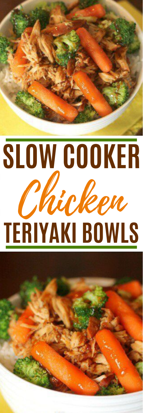 Slow Cooker Chicken Teriyaki Bowls #dinner #recipes #slowcooker #chicken #mealprep