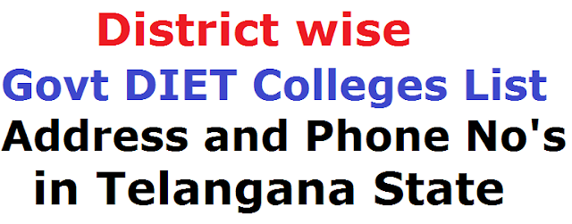 District wise Govt DIET Colleges List, Address and Phone No's in Telangana