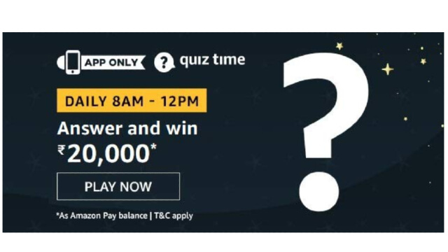 Amazon Quiz Answers Today 3rd February  win - ₹20000 Pay Balance