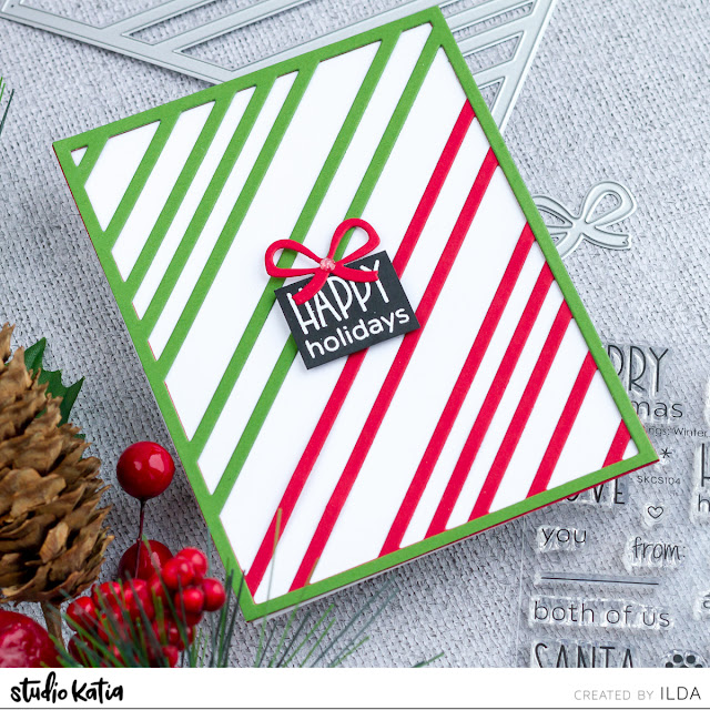 CAS Happy Holidays Card | Studio Katia by ilovedoingallthingscrafty.com