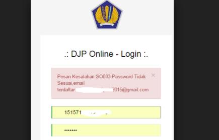 Pesan Kesalahan:SO003 - Password Tidak Sesuai
