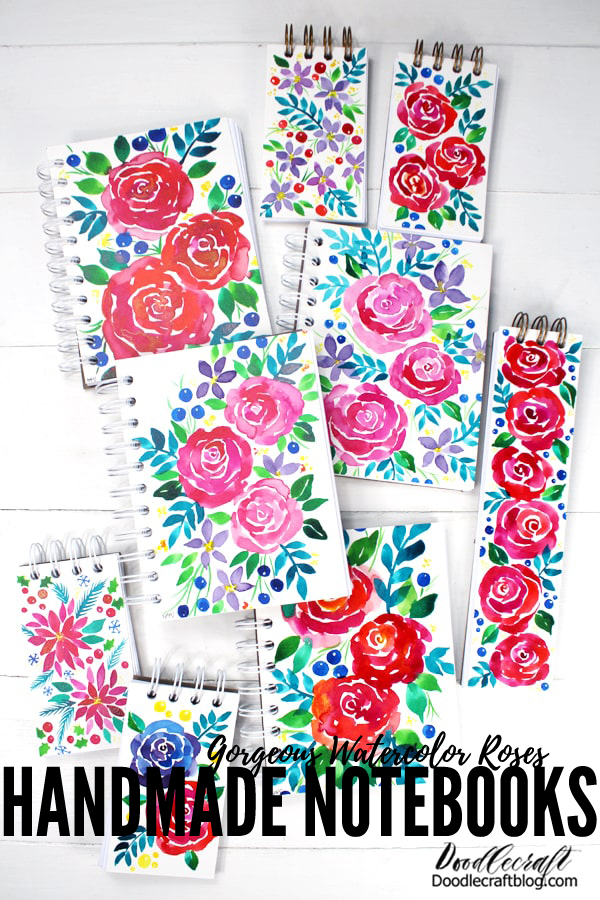 Learn how to make gorgeous watercolor flower handmade cinch bound notebooks with the Cinch binding machine tool.