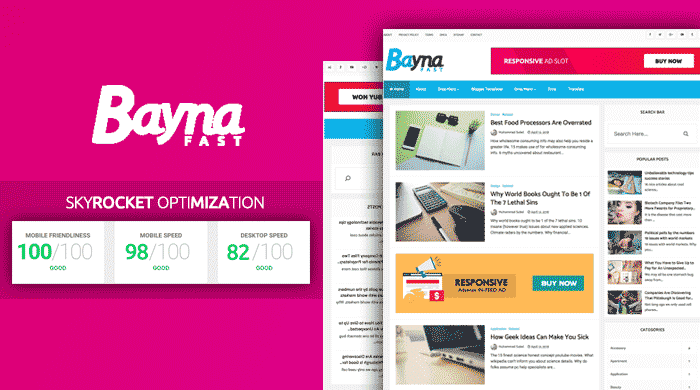 Bayna Fast Premium - High Speed Optimized Blogger Template