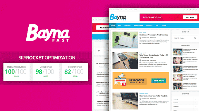 Bayna Fast - High Speed Optimized Blogger Template | Premium Download