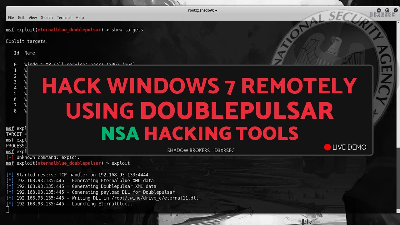 Exploit Windows Remote PC with EternalBlue & DoublePulsar