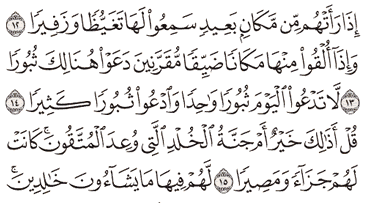 Tafsir Surat Al-Furqan Ayat 12, 13, 14, 15