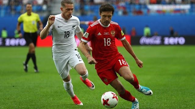 Rússia passa pela Nova Zelândia com facilidade na estréia da Copa das Confederações