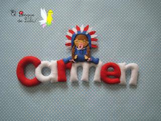 nombre-fieltro-Carmen-elbosquedelulu-hechoamanoparati-felt-feltro-regalo-personalizado-babyroom-name-banner-decoración-infantil-atlético-Madrid-rojiblanco