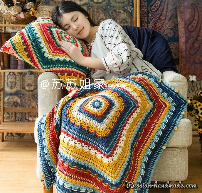 Схемы вязания пледа и подушки многоцветным узором (5)