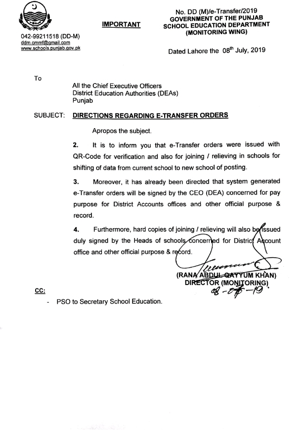 DIRECTIONS REGARDING E-TRANSFER ORDERS OF TEACHERS