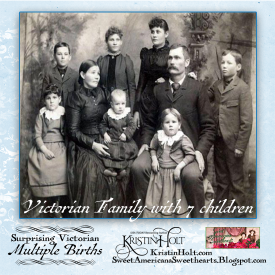 Kristin Holt | Surprising Victorian Multiple Births. Victorian photograph of family: father, mother, and 7 children. Image Credit: Pinterest.