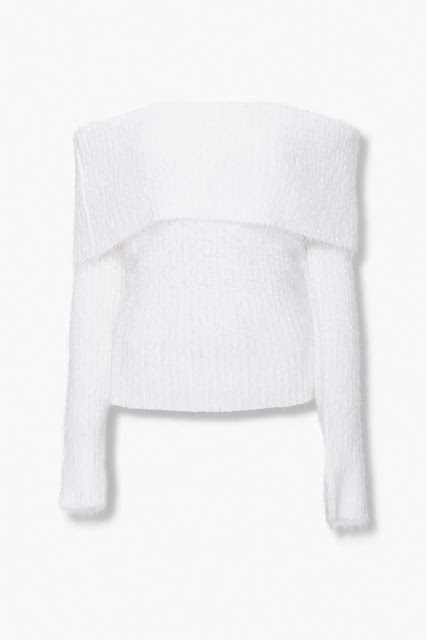 White fuzzy off-the-shoulder sweater