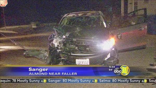 roll over crash car collision sanger police pursuit almond avenue