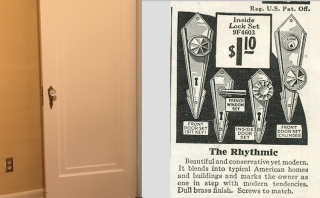 comparison of real door with Sears Rhythmic door hardware, against image from 1930 Sears Building Materials catalog