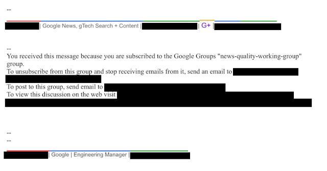 E-mail interno do Google vazado publicado pelo  Project Veritas