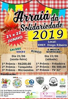 Vem aí o Arraiá da Solidariedade 2019 de Miracatu