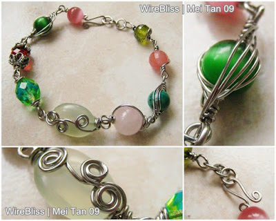 wire wrapped bracelets - green and pink themed