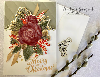 Stampin Up, Holiday Catalogue, 2019, Christmas Rose, Rose dies, Andrea Sargent, Valley Inspirations, embossed, Tufted 3D, Subtle 3D, Art With Heart, Heart of Christmas
