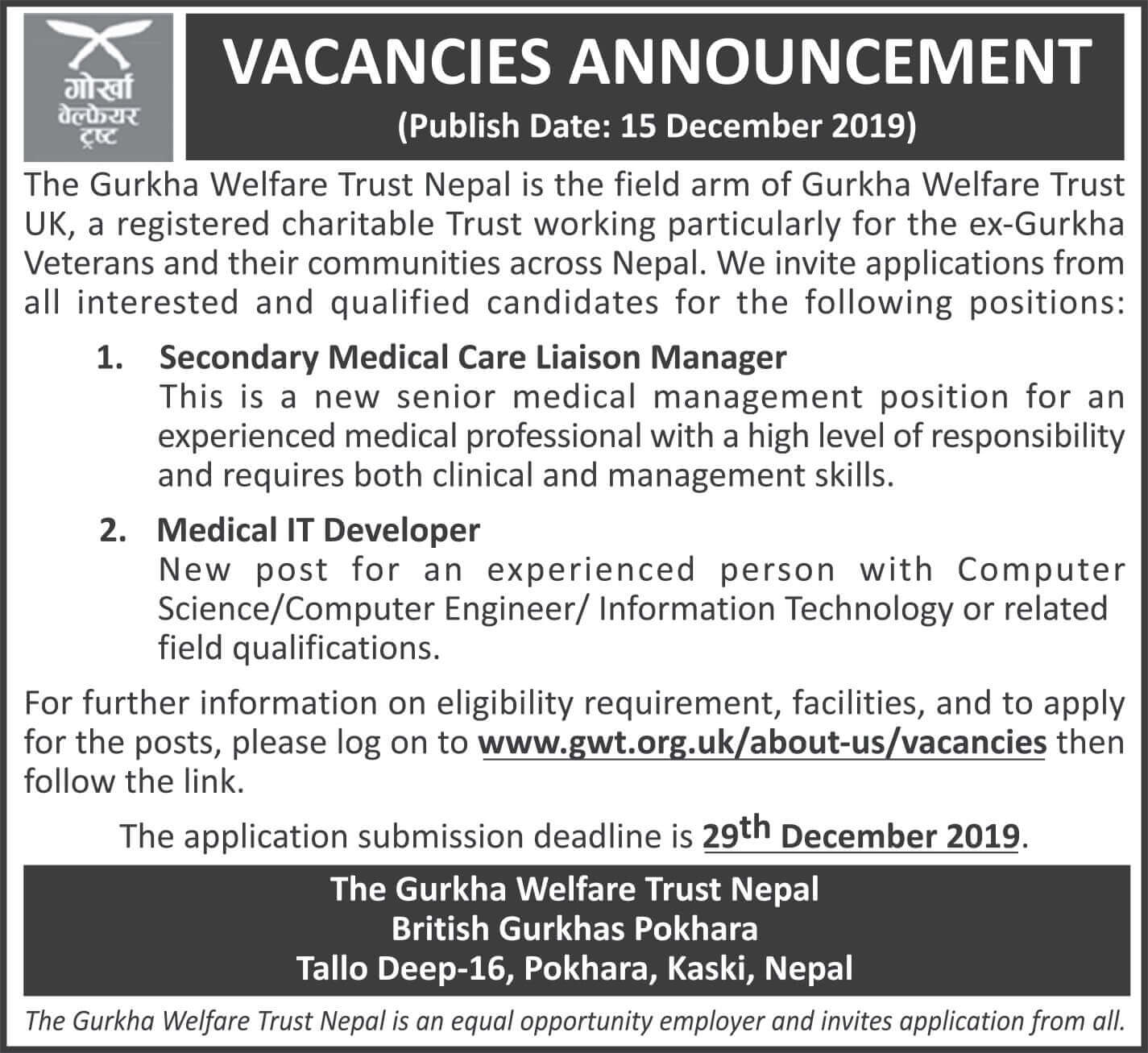 Vacancies at Gurkha Welfare Trust Nepal