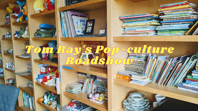 picture of bookshelf with vintage toys and text overlay