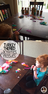 Turkey and Thanksgiving themed crafts, activities, math and literacy centers, ideas and freebies for your kindergarten, preschool and homeschool classrooms.