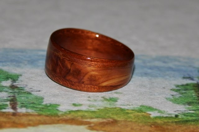 Cherry Wood Ring with juniper heartwood inlay