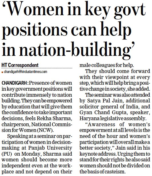 "'Women in key govt positions can help in nation-building' | ""Awareness of women's empowerment at all levels is the need of the hour and women's participation will overall make a better society,"" Jain said in his keynote address"