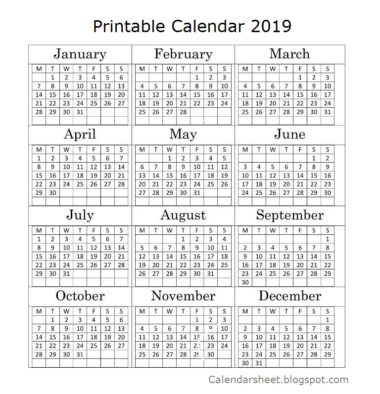12 Month Calendar 2019 With Holidays