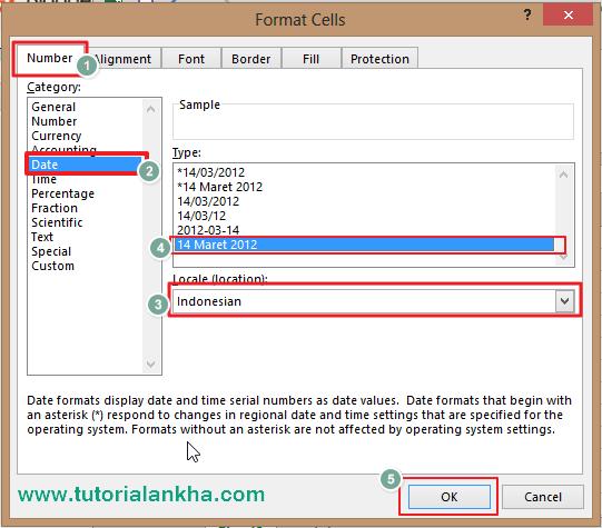 Mengatur Date atau Tanggal di Excel