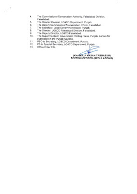 DEMARCATION OF TEHSIL COUNCILS AND ABOLISHED TOWN COMMITTEES OF DISTRICT FAISALABAD
